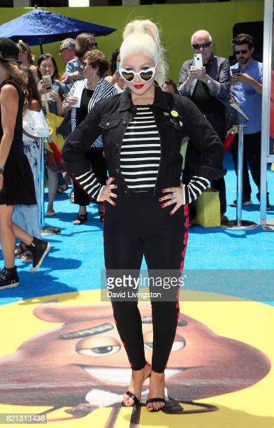 Singer Christina Aguilera attends the premiere of Columbia Pictures and Sony Pictures Animation's 'The Emoji Movie' at the Regency Village Theatre on...