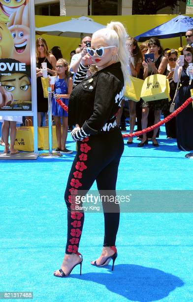 Singer Christina Aguilera attends the premiere of Columbia Pictures and Sony Pictures 'The Emoji Movie' at Regency Village Theatre on July 23 2017 in...
