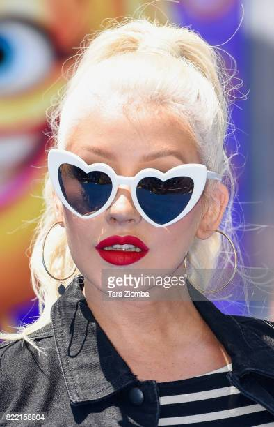 Singer Christina Aguilera attends the premiere of Columbia Pictures and Sony Pictures Animation's 'The Emoji Movie' at Regency Village Theatre on...