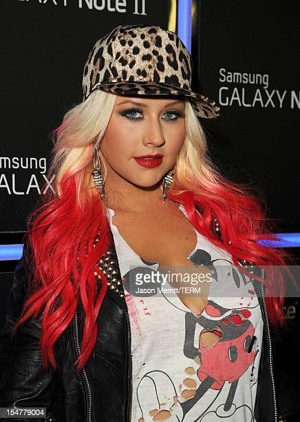 Singer Christina Aguilera attends the Samsung Galaxy Note II Beverly Hills Launch Party on October 25 2012 in Los Angeles California