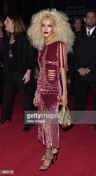 Singer Christina Aguilera attends the Seventh Annual Blockbuster Awards 10 April 2001 in Los Angeles CA