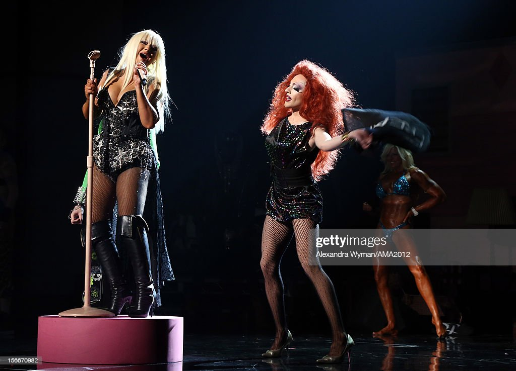 Singer <a gi-track='captionPersonalityLinkClicked' href=/galleries/search?phrase=Christina+Aguilera&family=editorial&specificpeople=171272 ng-click='$event.stopPropagation()'>Christina Aguilera</a> onstage at the 40th American Music Awards held at Nokia Theatre L.A. Live on November 18, 2012 in Los Angeles, California.