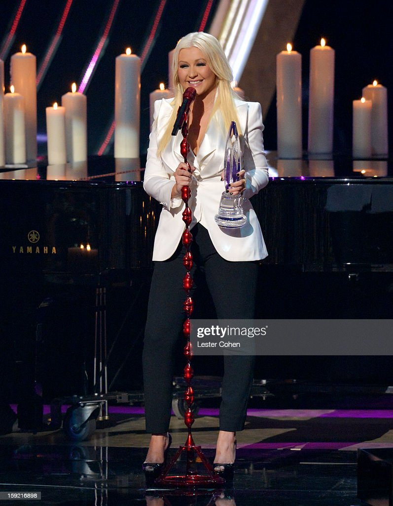 Singer Christina Aguilera onstage during the 2013 People's Choice Awards at Nokia Theatre L.A. Live on January 9, 2013 in Los Angeles, California.