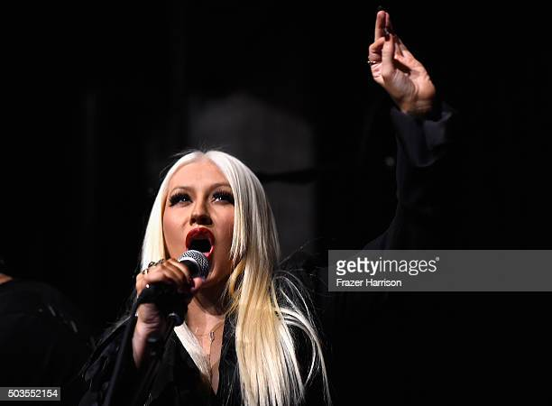Singer Christina Aguilera performs at the Linda Perry Celebration For The Song 'Hands Of Love' From The Film 'Freeheld' on January 5 2016 in Los...