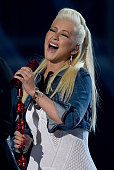 Singer Christina Aguilera performs during the 50th Academy of Country Music Awards at ATT Stadium on April 19 2015 in Arlington Texas