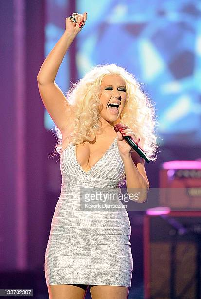 Singer Christina Aguilera performs onstage at the 2011 American Music Awards held at Nokia Theatre LA LIVE on November 20 2011 in Los Angeles...