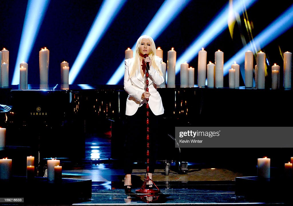 Singer Christina Aguilera performs onstage at the 39th Annual People's Choice Awards at Nokia Theatre L.A. Live on January 9, 2013 in Los Angeles, California.