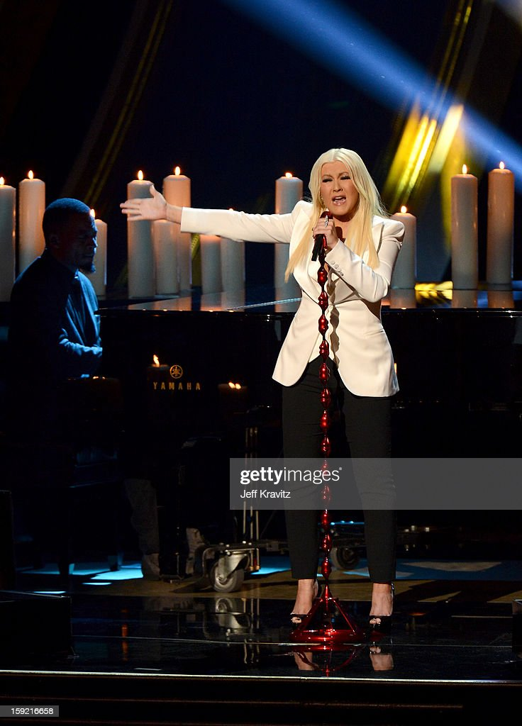 Singer Christina Aguilera performs onstage during the 2013 People's Choice Awards at Nokia Theatre L.A. Live on January 9, 2013 in Los Angeles, California.