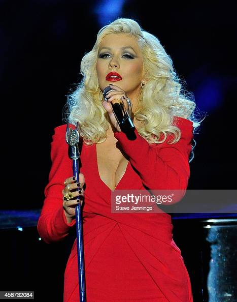 Singer Christina Aguilera performs onstage during the Breakthrough Prize Awards Ceremony Hosted By Seth MacFarlane at NASA Ames Research Center on...
