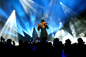 Singer Christina Aguilera performs prior to the 2015 NBA AllStar Game at Madison Square Garden on February 15 2015 in New York City NOTE TO USER User...