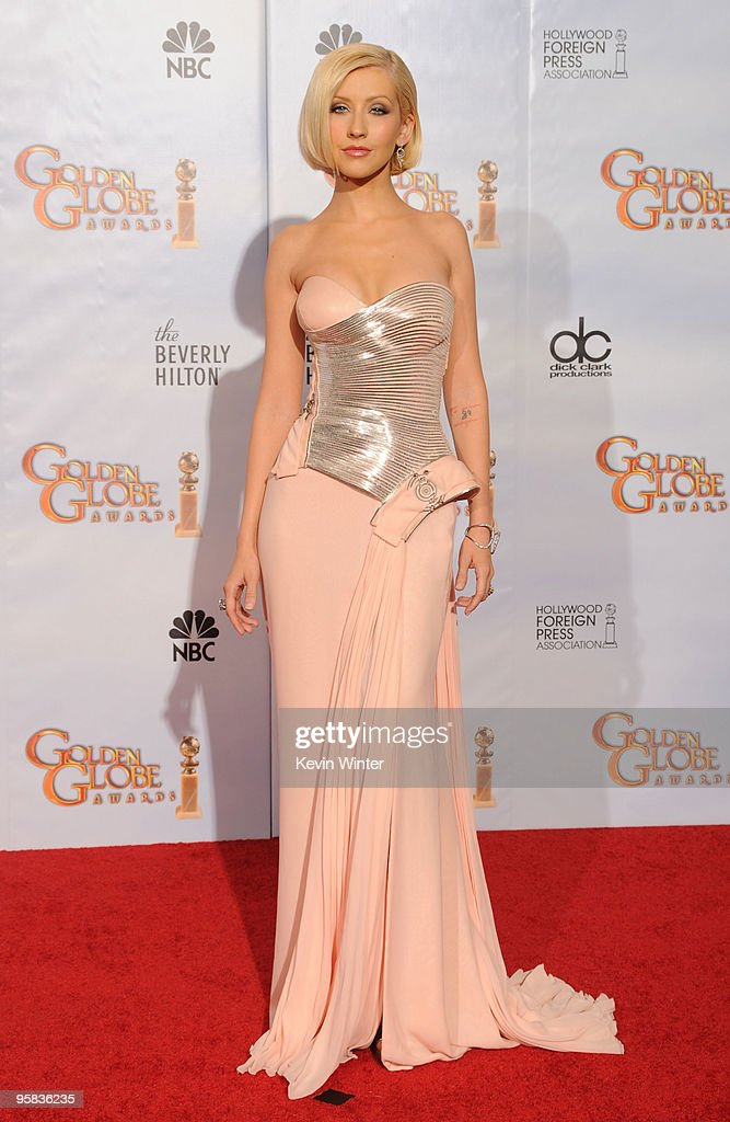 Singer Christina Aguilera poses in the press room at the 67th Annual Golden Globe Awards held at The Beverly Hilton Hotel on January 17 2010 in...