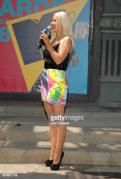 Singer Christina Aguilera speaks at the MTV VMA 2008 press conference at Paramount Studios on September 4 2008 in Hollywood California