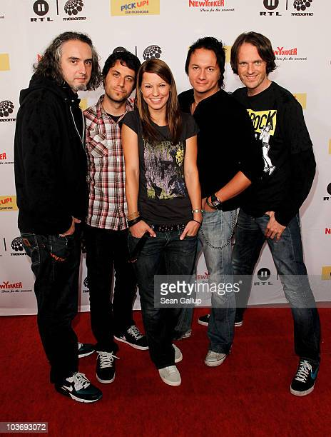 Singer Christina Stuermer and her band attend The Dome 55 on August 27 2010 in Hannover Germany