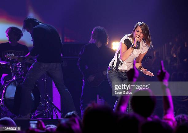 Singer Christina Stuermer performs at The Dome 55 on August 27 2010 in Hannover Germany