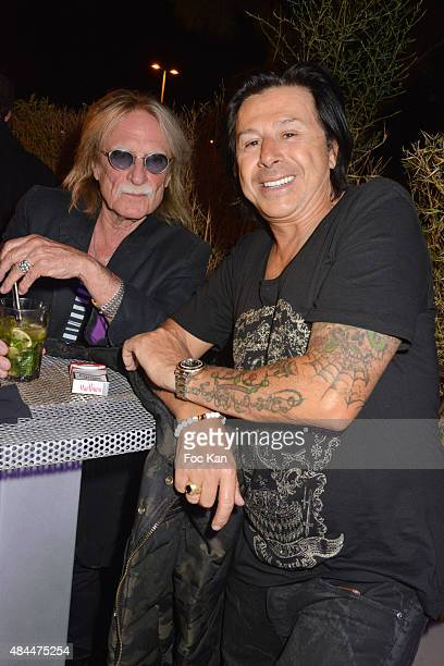 Singer Christophe and Tsar Club director Vincent Martin attend the Tsar Party at the Tsar Club in Saint Tropez on August 18 2015 in Saint Tropez...