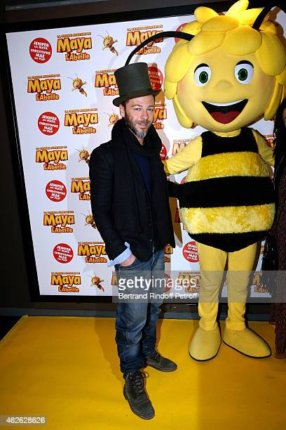 Singer Christophe Mae and Maya attend the 'Maya The Bee La Grande Aventure De Maya L'Abeille' Paris Premiere at UGC Cine Cite Bercy on February 1...
