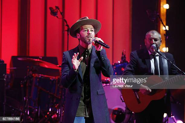 Singer Christophe Mae performs during 'Grand Prix de la SACEM 2016' at Folies Bergeres on December 5 2016 in Paris France