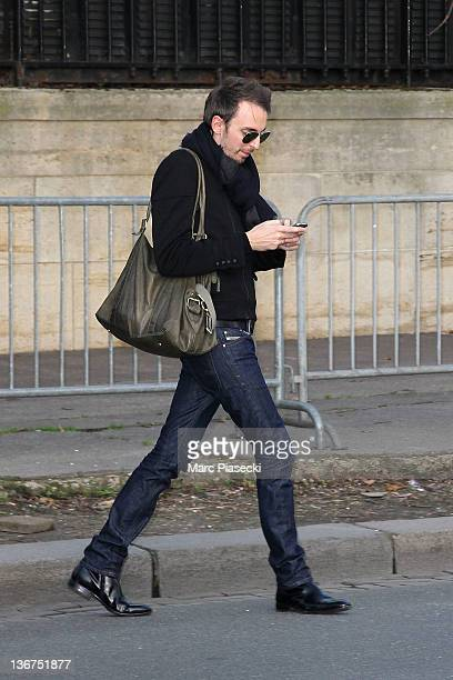 Singer Christophe Willem arrives at Studio Gabriel for the recording of 'Vivement Dimanche' broadcast January 11 2012 in Paris France