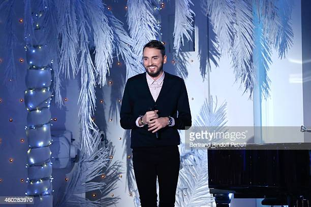 Singer Christophe Willem performs and presents his album 'Paraitil' during the 'Vivement Dimanche' French TV at Pavillon Gabriel on December 10 2014...