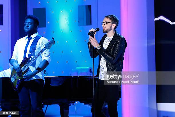 Singer Christophe Willem performs during the 'Vivement Dimanche' French TV Show at Pavillon Gabriel on April 8 2015 in Paris France