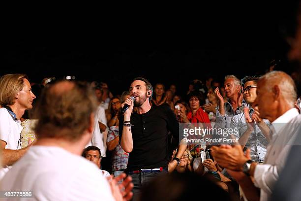 Singer Christophe Willem performs with the public in his Christophe Willem Show during the 31th Ramatuelle Festival Day 12 and last day on August 12...
