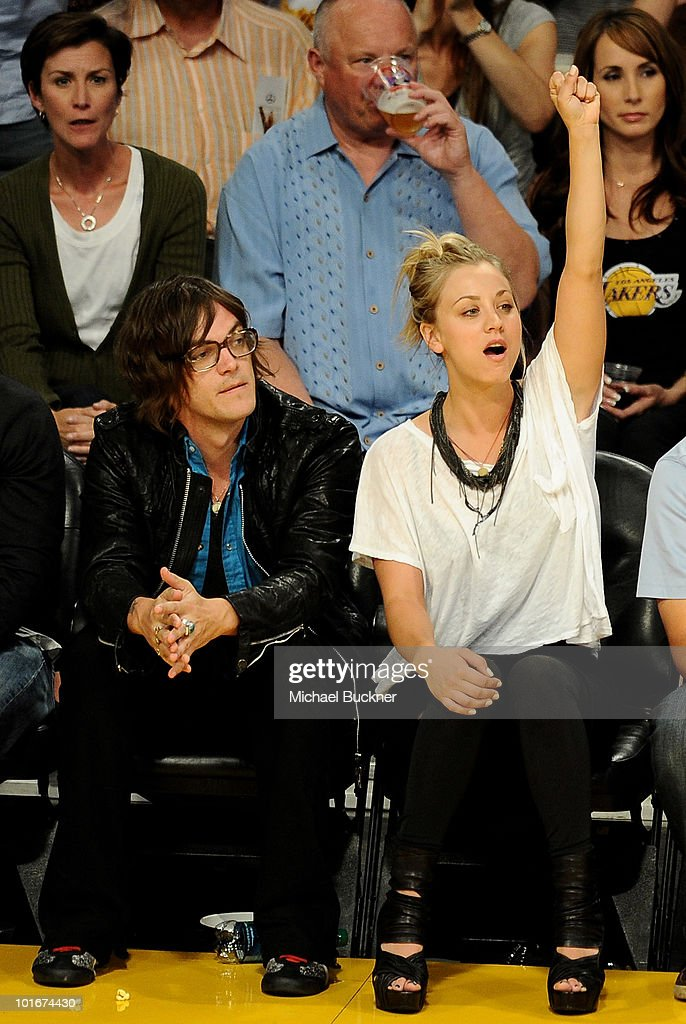 Singer Christopher French (L) and actress Kaley Cuoco attend Game 2 of the NBA Finals between the Los Angeles Lakers and Boston Celtics at the Staples Center on June 6, 2010 in Los Angeles, California.