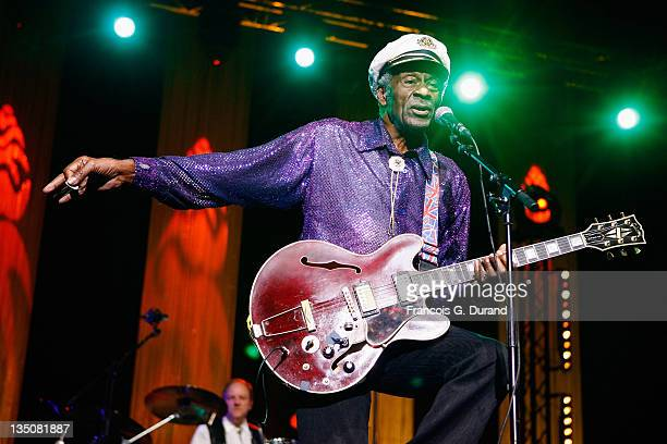 Singer Chuck Berry performs at the 'Les Legendes Du Rock and Roll' concert at the Zenith on November 14 2008 in Paris France