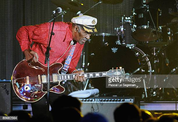 Singer Chuck Berry performs during the 2009 Monte Carlo Rock' N Rose Ball held at The Sporting Monte Carlo on March 28 2009 in Monte Carlo Monaco