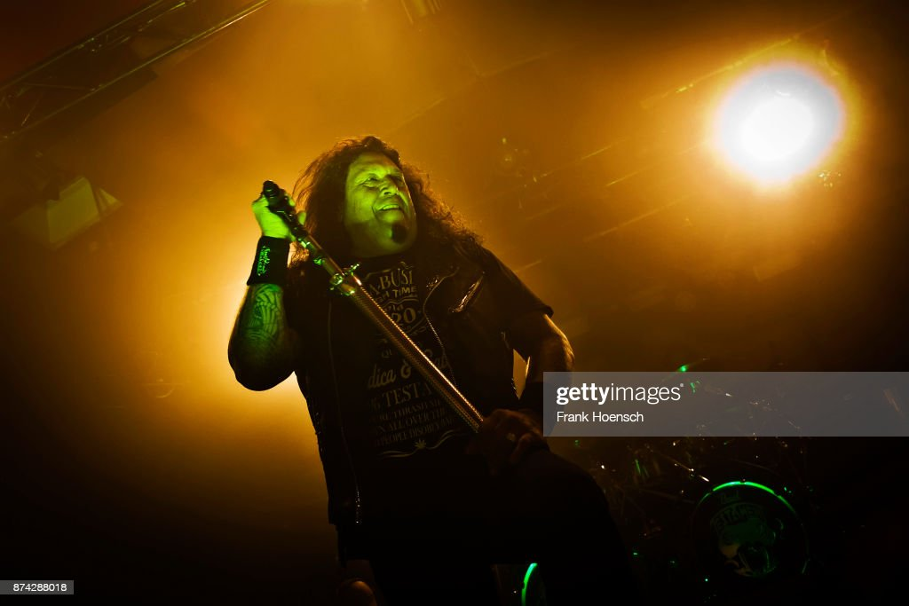 Singer Chuck Billy of the American band Testament performs live on stage during a concert at the Astra on November 14, 2017 in Berlin, Germany.