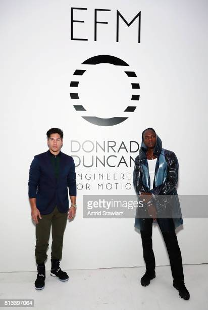 Singer Chyno Miranda and rapper Young Paris attend the EFM Engineered For Motion Spring/Summer 2018 Runway Show at Skylight Clarkson Square on July...
