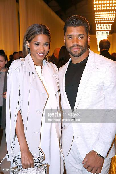 Singer Ciara and Quaterback of Seattle Seahawks Russell Wilson attend the Lanvin show as part of the Paris Fashion Week Womenswear Fall/Winter...
