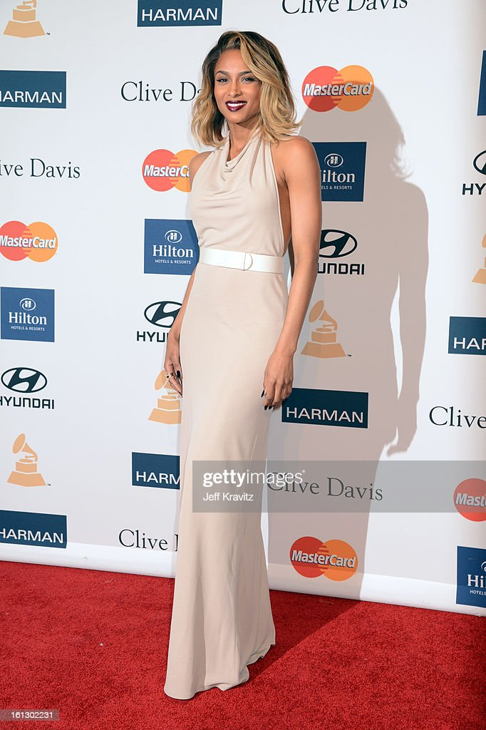 Singer <a gi-track='captionPersonalityLinkClicked' href=/galleries/search?phrase=Ciara+-+Chanteuse&family=editorial&specificpeople=11647122 ng-click='$event.stopPropagation()'>Ciara</a> arrives at Clive Davis and The Recording Academy's 2013 GRAMMY Salute to Industry Icons Gala held at The Beverly Hilton Hotel on February 9, 2013 in Beverly Hills, California.