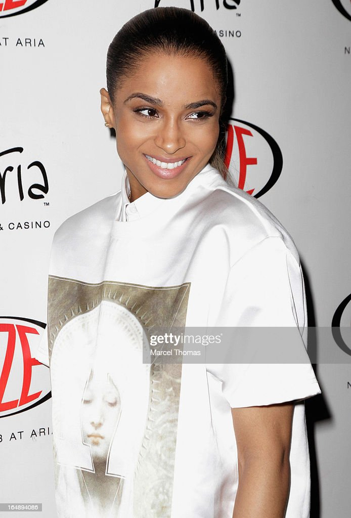 Singer <a gi-track='captionPersonalityLinkClicked' href=/galleries/search?phrase=Ciara+-+Singer&family=editorial&specificpeople=11647122 ng-click='$event.stopPropagation()'>Ciara</a> arrives at Haze Nightclub at the Aria Resort & Casino at CityCenter for a performance on March 28, 2013 in Las Vegas, Nevada.