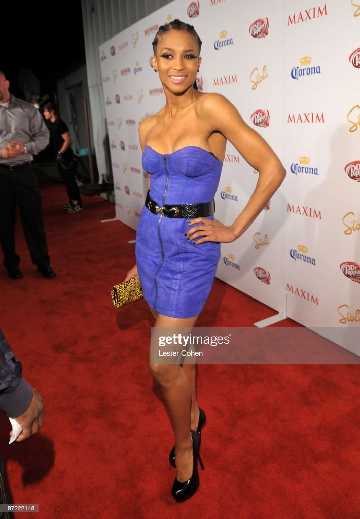 Singer Ciara arrives at Maxim's 10th Annual Hot 100 Celebration Presented by Dr Pepper Cherry, True Religion Brand Jeans, Stolichnaya Vodka and Corona held at Barker Hangar on May 13, 2009 in Santa Monica, California.