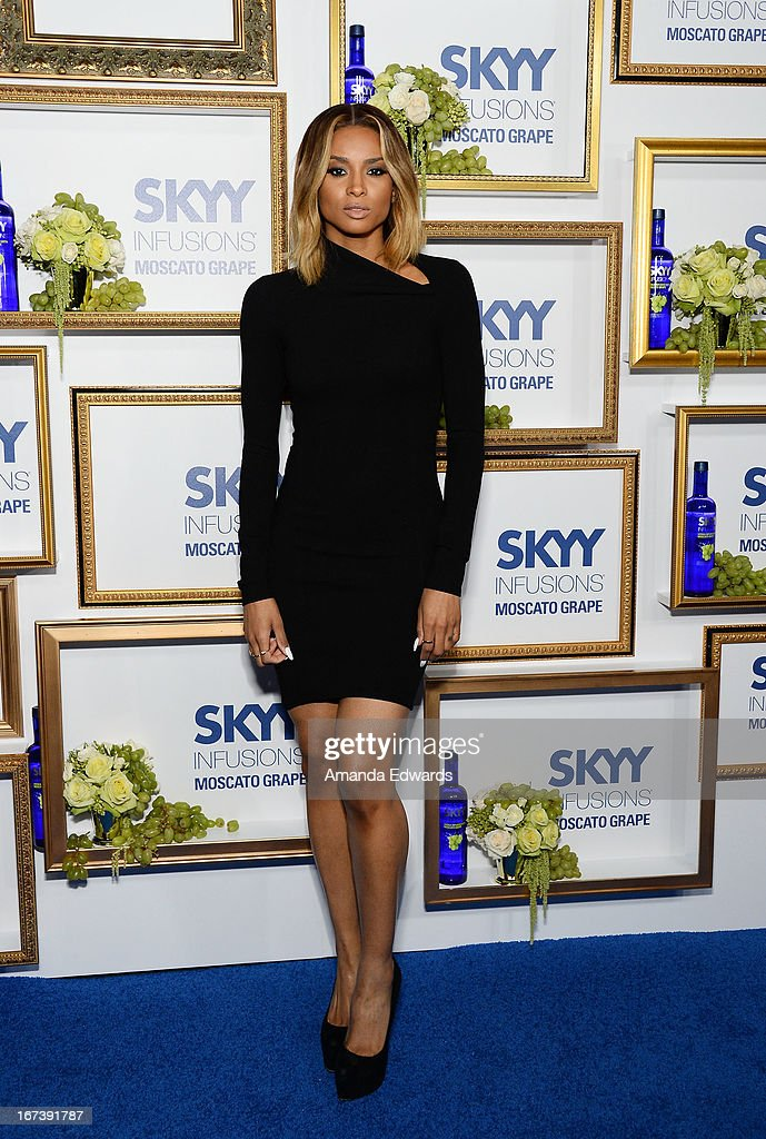 Singer <a gi-track='captionPersonalityLinkClicked' href=/galleries/search?phrase=Ciara+-+Singer&family=editorial&specificpeople=11647122 ng-click='$event.stopPropagation()'>Ciara</a> arrives at the debut of The House of Moscato launch party for the new SKYY Infusions Moscato Grape Vodka at Greystone Manor Supperclub on April 24, 2013 in West Hollywood, California.