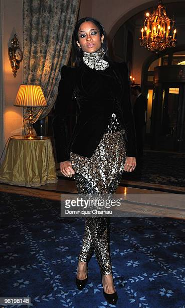 Singer Ciara attends the Givenchy Private cocktai partyl in his honor at Hotel Ritz on January 26 2010 in Paris France