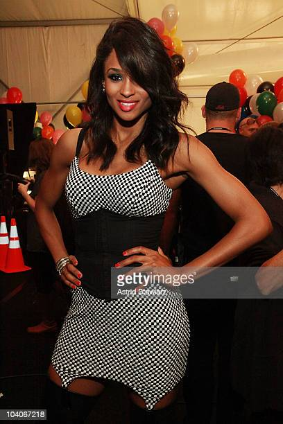 Singer Ciara backstage at the Betsey Johnson Spring 2011 fashion show during MercedesBenz Fashion Week at The Theater at Lincoln Center on September...