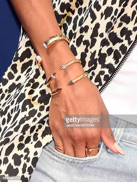 Singer Ciara jewelry detail attends the Nickelodeon Kids' Choice Sports Awards 2015 at UCLA's Pauley Pavilion on July 16 2015 in Westwood California