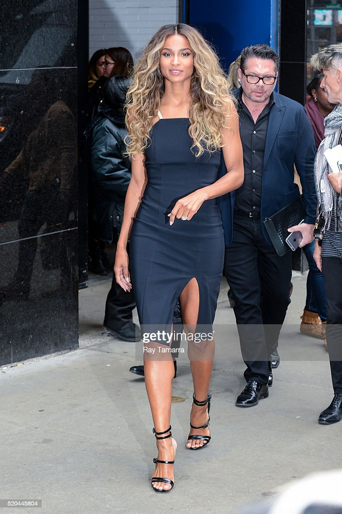 Singer Ciara leaves the 'Good Morning America' taping at the ABC Times Square Studios on April 11 2016 in New York City