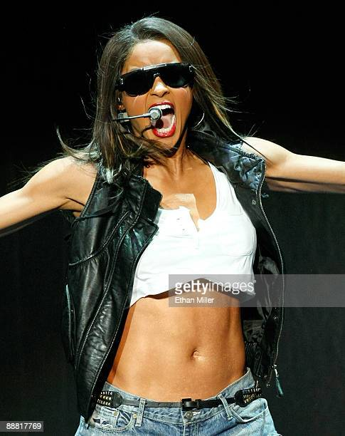 B singer Ciara performs at The Pearl concert theater at the Palms Casino Resort July 3 2009 in Las Vegas Nevada Ciara is opening for rapper JayZ as...