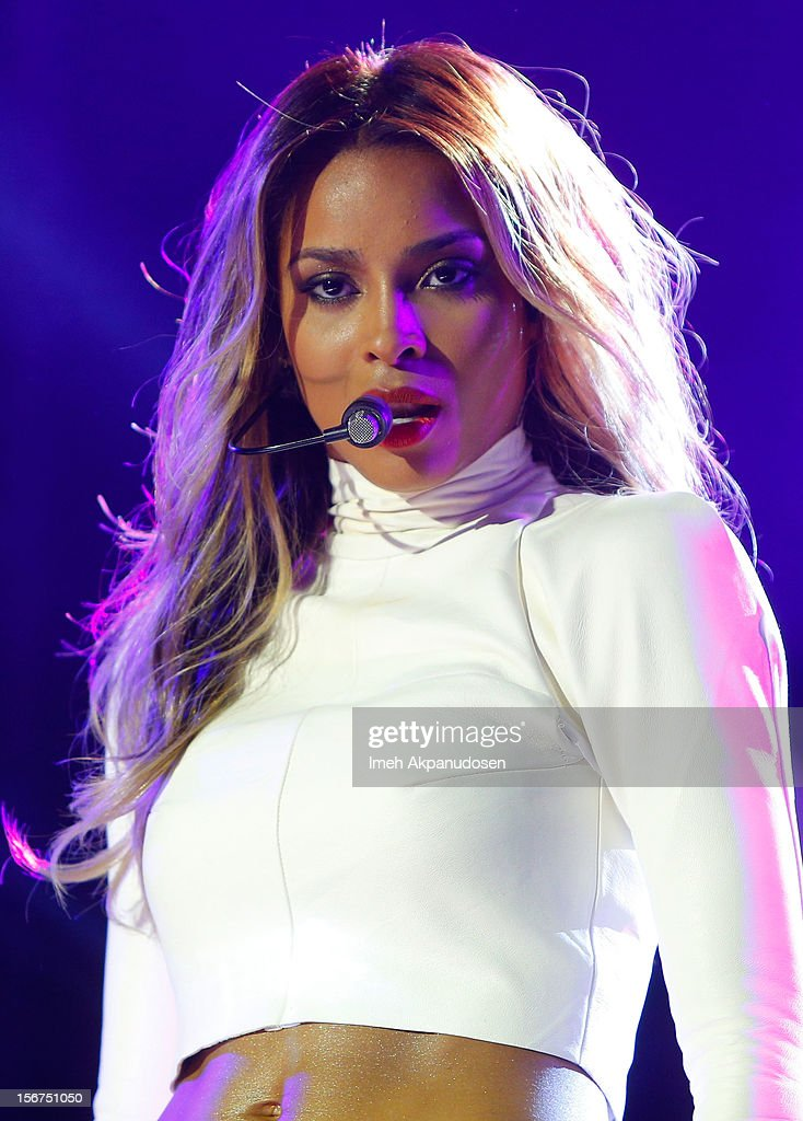 Singer <a gi-track='captionPersonalityLinkClicked' href=/galleries/search?phrase=Ciara+-+Cantora&family=editorial&specificpeople=11647122 ng-click='$event.stopPropagation()'>Ciara</a> performs onstage during a 'Myspace LIVE' concert at Key Club on November 19, 2012 in West Hollywood, California.