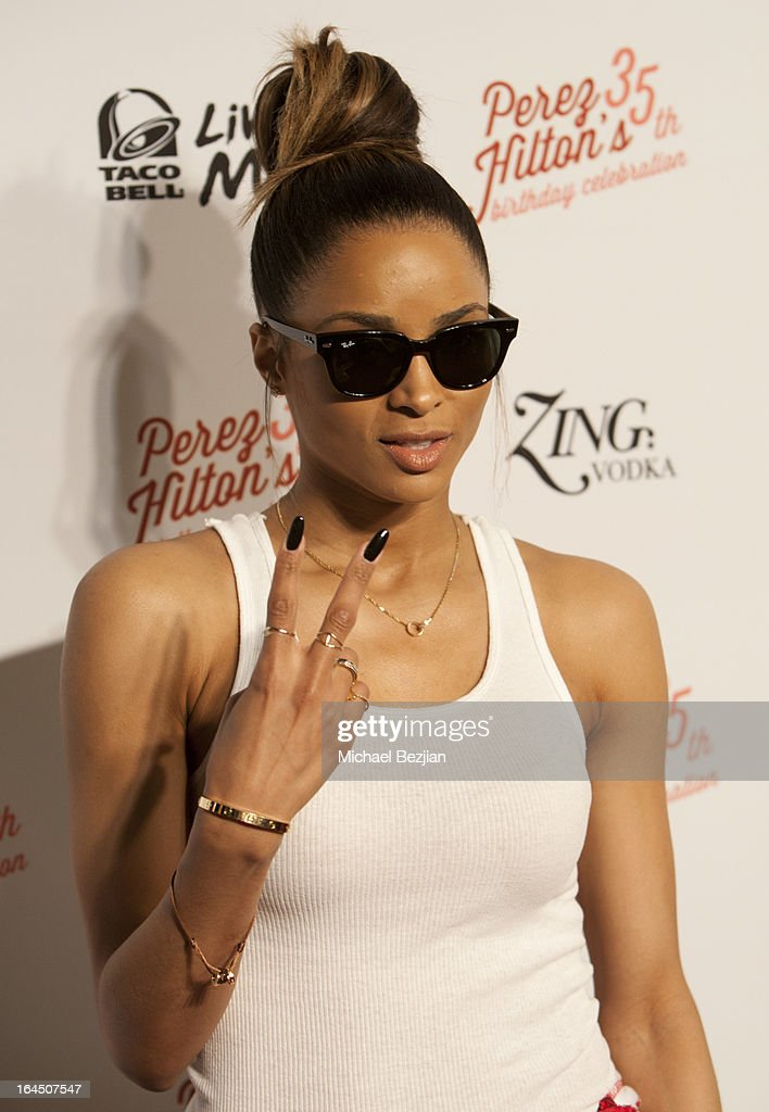 Singer <a gi-track='captionPersonalityLinkClicked' href=/galleries/search?phrase=Ciara+-+Singer&family=editorial&specificpeople=11647122 ng-click='$event.stopPropagation()'>Ciara</a> Princess Harris arrives at Perez Hilton's 35th Birthday Party Extravaganza - Arrivals at El Rey Theatre on March 23, 2013 in Los Angeles, California.