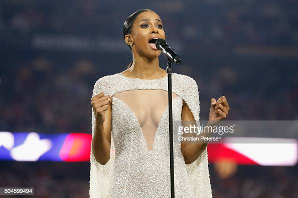 Singer Ciara sings the national anthem prior to the start of the 2016 College Football Playoff National Championship Game between the Alabama Crimson...