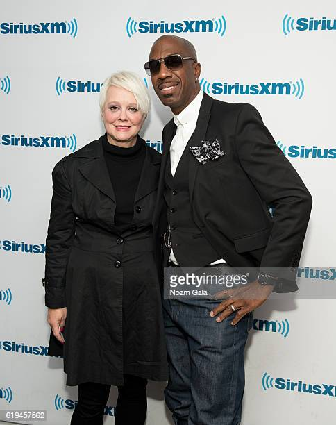 Singer Cindy Wilson and actor J B Smoove visit the SiriusXM Studio on October 31 2016 in New York City