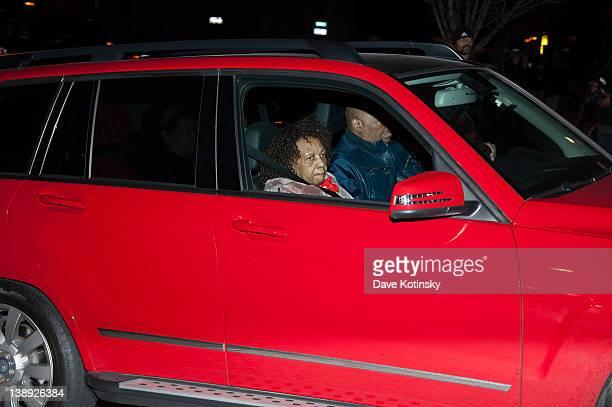 Singer Cissy Houston Mother of Whitney Houston arrives as Whitney Houston's body arrives to the Whigham Funeral Home on February 13 2012 in Newark...