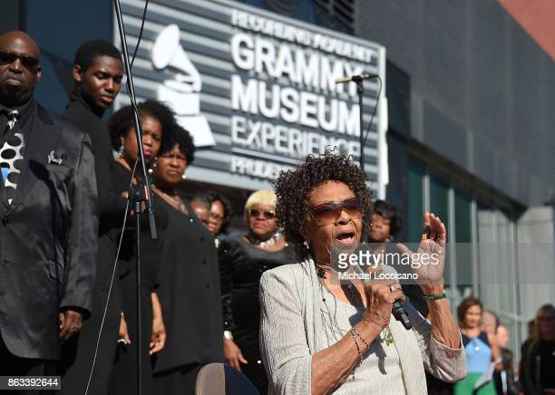 Singer Cissy Houston performs during the Grammy Museum Experience Prudential Center RibbonCutting Ceremony at Prudential Center on October 19 2017 in...