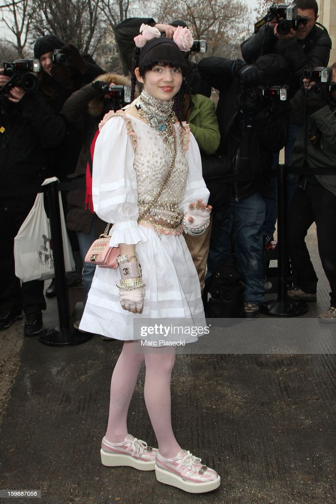Singer Claire Boucher aka Grimes is seen arriving at the the Chanel Spring/Summer 2013 Haute-Couture show as part of Paris Fashion Week at Grand Palais on January 22, 2013 in Paris, France.