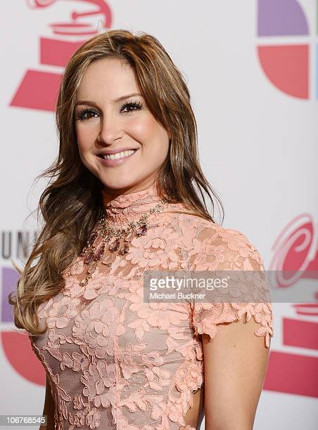Singer Claudia Leitte poses in the press room at the 11th Annual Latin GRAMMY Awards held at the Mandalay Bay Resort Casino on November 11 2010 in...