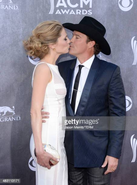 Singer Clay Walker and Jessica Craig attend the 49th Annual Academy Of Country Music Awards at the MGM Grand Garden Arena on April 6 2014 in Las...
