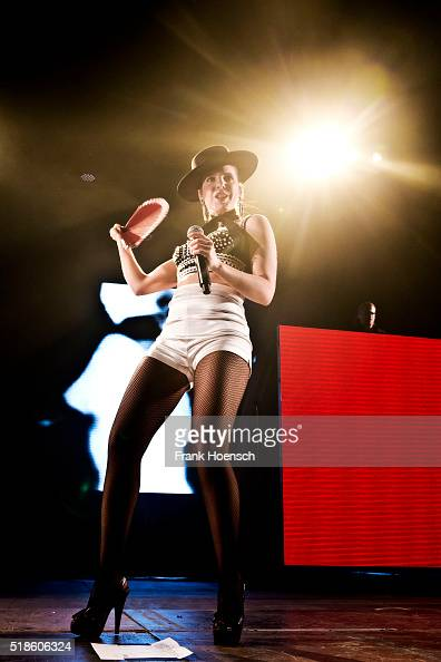 Singer Cleo Panther of the Austrian band Parov Stelar performs live during a concert at the MaxSchmelingHalle on April 1 2016 in Berlin Germany